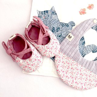 120 green floral baby shoes X stitching bib newborn gift box gift group