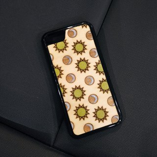 [IPhone7/8 color wooden phone case – sun moon] limited to one!!