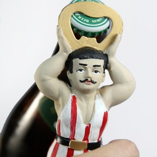 British import Temerity Jones retro style bodybuilder bottle opener / can opener - spot