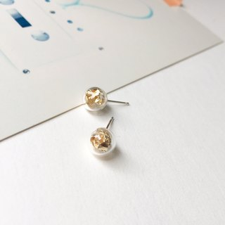 Shiny Glass Ball Gold Foil 925 Sterling Silver Earrings