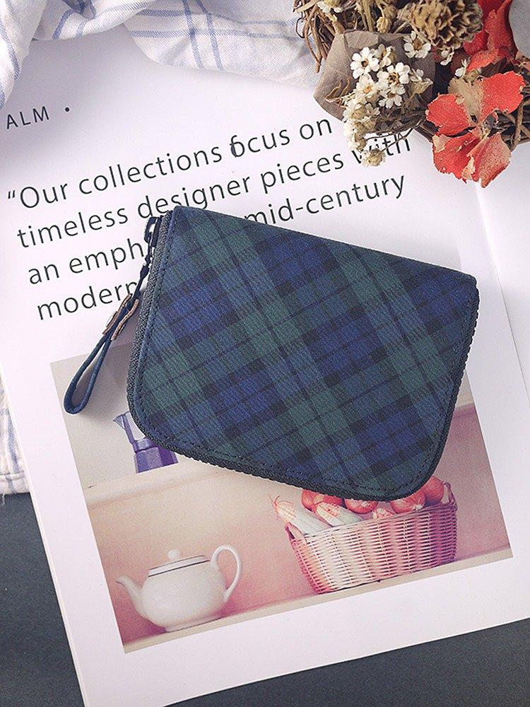 防疫安心出貨。經典綠蘇格蘭格紋。布短夾/皮夾/錢包/零錢包