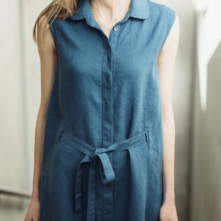 Natural Linen Dress With Pleated Back Motumo - 14S2