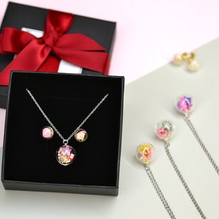 Goody Bag - Christmas Bag Real Flower Necklace and Earrings Set