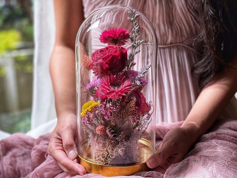 永生玫瑰玻璃鐘罩課程 10x19公分 與朋友相約兩人開班