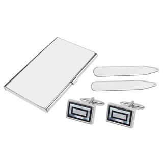 Onyx and Mother of Pearl Double Rectangle Cufflinks Collar Stays and Card Holder