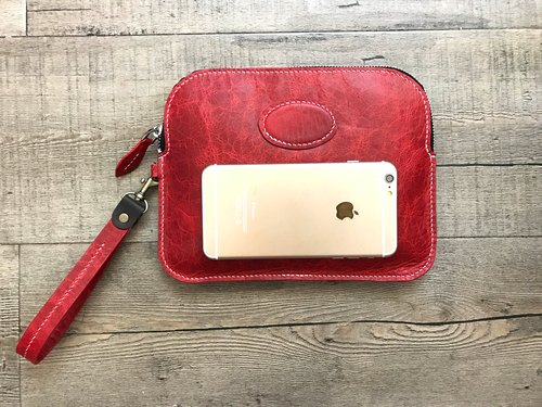 POPO│i PAD handmade sewing. Storage package │ ice crack fashion red │ real leather