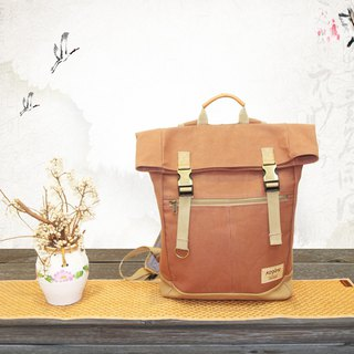 [Uneven sail] retro double buckle back backpack / canvas - Mocha brown