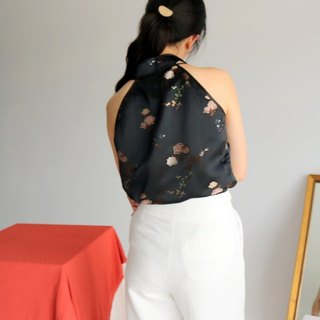 Fleuris Top Limited Edition Chinese Print Silk Satin Apron (Imported Fabric)