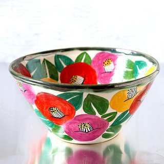 Large bowl of colorful camellia painting