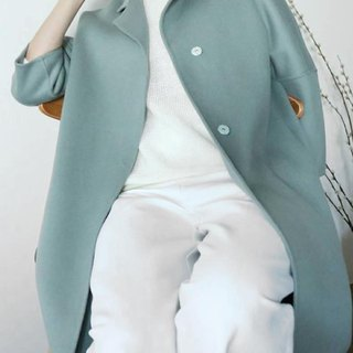 Misty Coat fog green double wool hand retro coat (can be customized other colors)