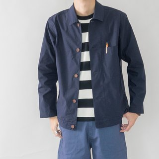 Early autumn everyday with French blue overalls coat solid color minimalist pocket shirt jacket male