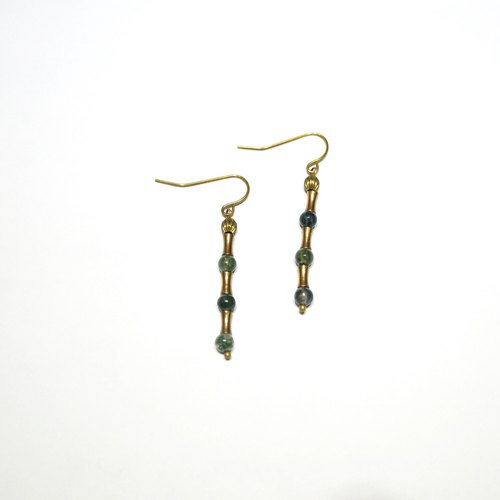 ITS: 265 [brass earrings series · low-key gorgeous] brass X jade natural stone earrings 色 6 color ⎜ variety of ear hook / ear needle / ear clip ⎜ Christmas gifts