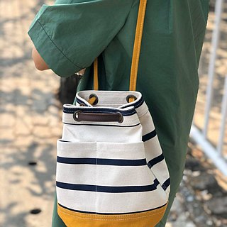 Mini Mustard Stripe Canvas Bucket Bag with strap /Leather Handles /Daily use