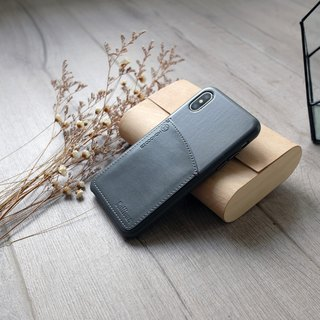 POSH | Leather Case with Pocket for iPhone X - Charcoal【Customize service】