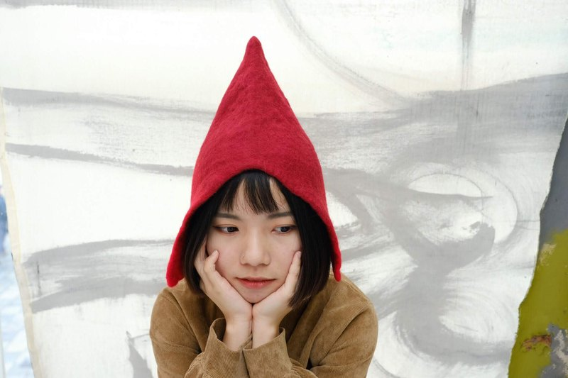 Little Red Riding Hood elf wool felt hat