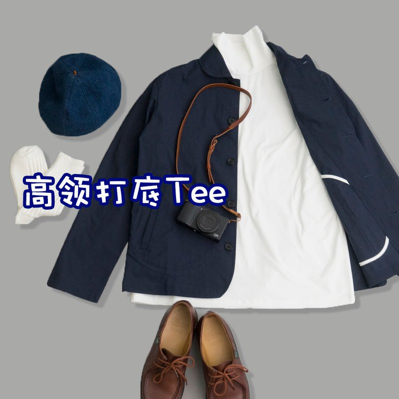 Magazine style with high-necked inner base, semi-high-necked thick long-sleeved T-shirt, super comfortable fabric