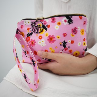 Wristlet in Cats and Flowers on Pink