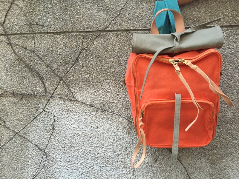 Waxed canvas backpack / Urban Jungle Backpack/size: S/Limited orange/Pumpkin/S