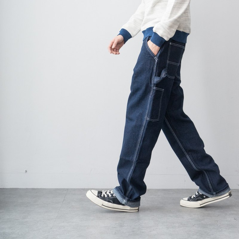 Loose fit tooling primary color jeans multi-bag straight pants one wash men and women models