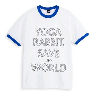 YOGA RABBITS SAVE the WORLD - 滾邊白藍 - 中性版T恤