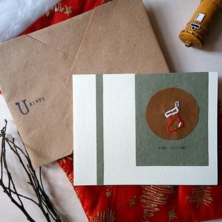 Hand stitched image Christmas card (Christmas socks) (original)