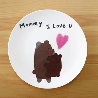 8 enamel plate - bear love you to customize microwave