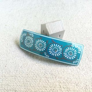 Even chrysanthemum pattern, square automatic clip hairpin - Green Lake