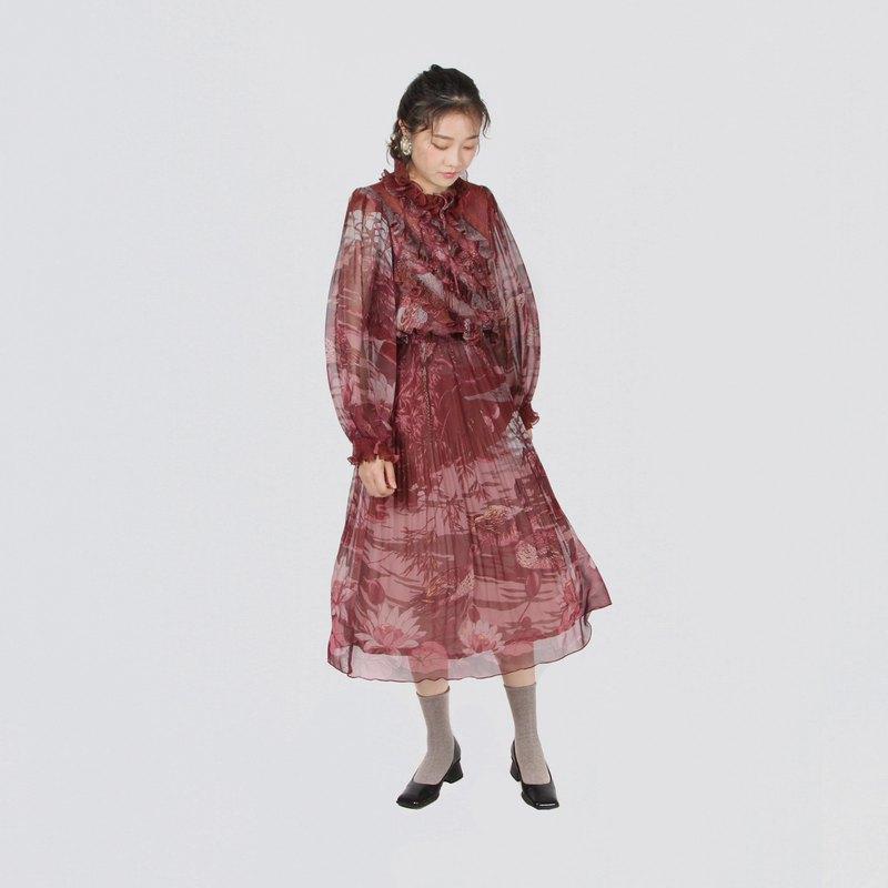 【蛋植物古着】鴛鴦圖景精工印花古著洋裝