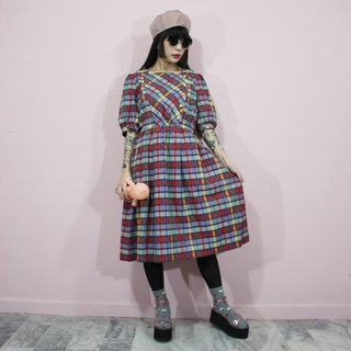 (Vintage dresses) red and gray Plaid Japanese vintage dress (wedding/picnic/birthday gift) F3224