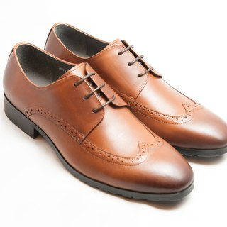 Hand-painted calfskin leather wood with wing pattern carved Derby shoes - caramel color - free shipping - E1A13-89