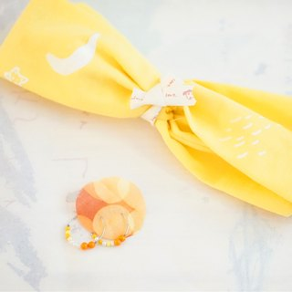 "YInke ""your most lovely"" hair band - yellow and moon, stars, rain drops silk hair band"