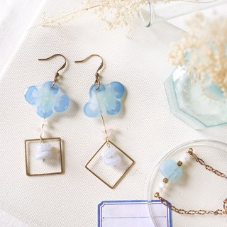 Flower collection album handmade earrings - pure blue agate powder crystal can be changed clip