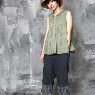 嘘要嘘 _ imaginary neck pocket decorated ramie top