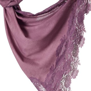 [ANGEL WOOLEN] Indian handmade French lace shawl scarf (purple attachment)
