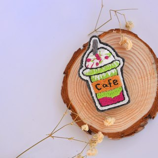 Dessert Series I Match Tea Red Bean Shock Cup [Cafe] Embroidery Brooch / Needle / Button (Single)