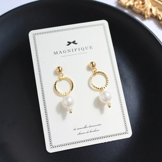 18kgf circle cotton pearl romantic simple earrings