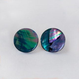 pearl opal earrings (black/circle)