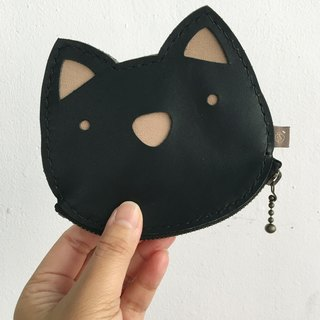Cat/Zipper Pouch/ID Card Holder/black