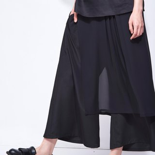 8 lie down . Outer float yarn wide pants