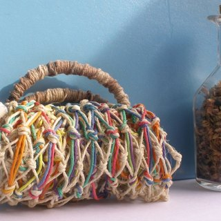 American twine hand-knit - original hemp and rainbow - wine bag - thermos - ice dam cup - fruit