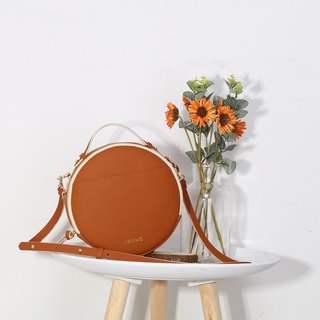 Unique Round Light Brown Synthetic Leather Portable Crossbody Bag