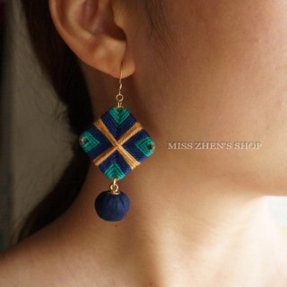 Navy Blue Square Braided Earrings