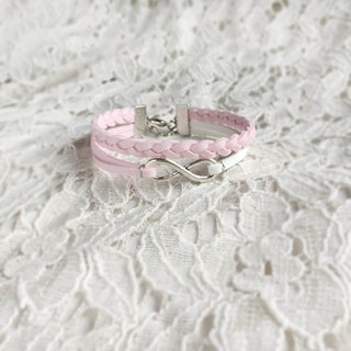 Handmade Double Braided Infinity Bracelets –sakura pink limited