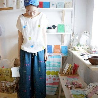 Blue sparkling hand-printed color point linen pocket wide pants
