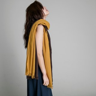 Cotton Two-tone Scarf - Caramel Macchiato