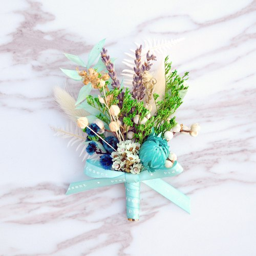Dry Corsage - Tiffany Blue groom Corsage / best man Corsage / bridesmaid Corsage / entertainment Corsage / custom Corsage / blue Corsage / lavender Corsage / Opening Reception