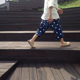 Air feeling thin material ∞ wide pants _ thick blue
