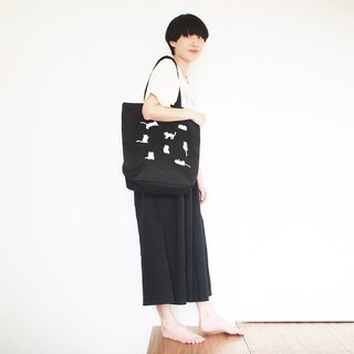 little cats tote bag : black