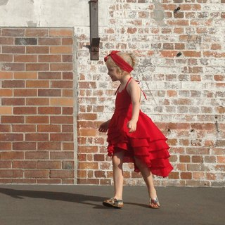 Girls Birthday Party Summer Flamenco Dress in  Red 6 - 12 Years