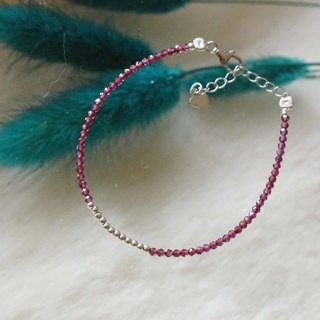 石榴石銀手鍊 ( Garnet Bracelet  with Linear Alloy )